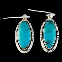 Navajo Sterling and Turquoise Dangle Earrings