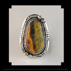 Sterling and Bumblebee Jasper Ring by Navajo Anthony Kee