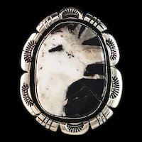 Large Sterling and White Buffalo Ring by Navajo Artist Ted Secatero