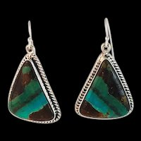 Sterling and Boulder Turquoise Earrings
