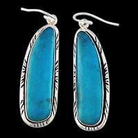 Long Navajo Made Sterling and Turquoise Earrings