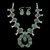 Petite Navajo Sterling and Royston Turquoise Squash
