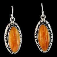 Navajo Sterling and Spiny Oyster Earrings by Melissa Yazzie