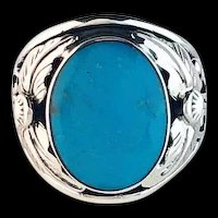 Navajo Sterling and Sleeping Beauty Turquoise Men's Ring