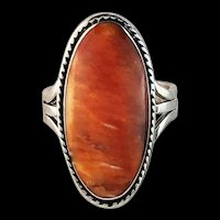 Sterling and Spiny Oyster Ring By Navajo Artist Melissa Yazzie