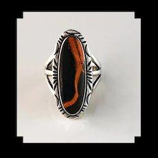 Navajo Sterling and Bumblebee Jasper Ring by Terri Wood