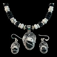 White Fox Creation; Sterling and White Buffalo Necklace/Earring Set