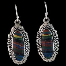 Sterling and Rainbow Calsilica Earrings by Arnold Maloney