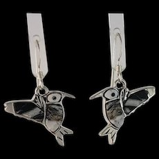 Adorable Sterling and White Buffalo Hummingbird Earrings