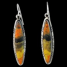 Navajo Sterling and Bumblebee Jasper Earrings