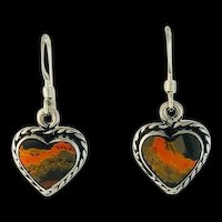 Navajo Sterling and Bumblebee Jasper Heart Earrings