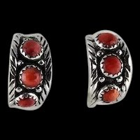 Navajo Sterling and Red Spiny Oyster Hoop Earrings