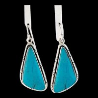 Large Stone Navajo Sterling and Turquoise Earrings