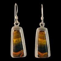 Sterling and Bumblebee Jasper Earrings by Navajo Terri Wood