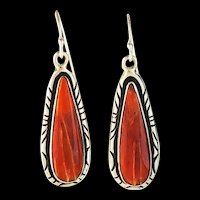 Navajo Sterling and Spiny Oyster Earrings by Arnold Maloney