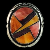Navajo Sterling and Spiny Oyster Inlay Ring