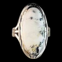 Navajo Sterling and White Buffalo Ring by Terri Wood