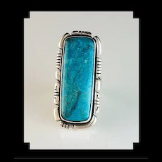 Long Sterling and Turquoise Ring by Navajo Artist Anthony Kee
