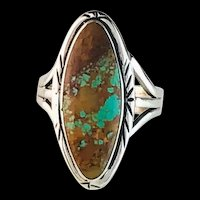 Sterling and Boulder Turquoise Ring by Navajo Melissa Yazzie