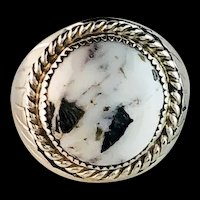 Sterling and White Buffalo Men's Ring by Navajo Silver Ray