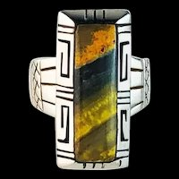 Sterling and Bumblebee Jasper Ring by Navajo Joe Alfred