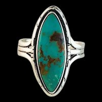 Sterling and Royston Turquoise Ring by Navajo Artist Terri Wood