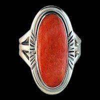 Sterling and Spiny Oyster Ring by Navajo Artist Alfred Joe