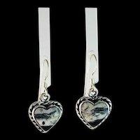 Navajo Sterling and White Buffalo Heart Shape Earrings