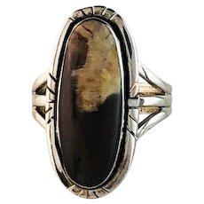 Sterling and Petrified Peanut Wood Ring by Melissa Yazzie