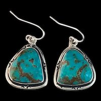 Navajo Sterling and Turquoise Earrings by Terri Wood