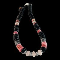 White Fox Creation: Rhodochrosite and Onyx Necklace