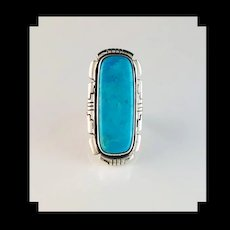 Long Navajo Sterling and Sleeping Beauty Turquoise Ring by Anthony Kee
