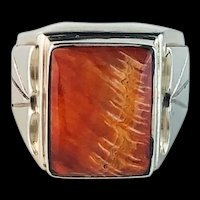 Navajo Sterling and Spiny Oyster Mens Ring