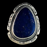 Navajo Large Stone Lapis and Sterling Ring