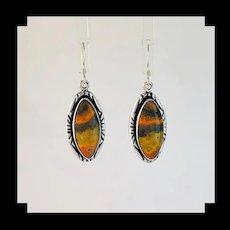 Sterling and Bumblebee Jasper Earrings by Navajo Melissa Yazzie