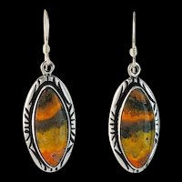 Sterling and Bumblebee Jasper Earrings by Navajo Melissa Yazzie