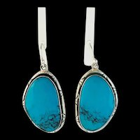 Large Sterling and Turquoise Earrings by Navajo Artist Terri Wood