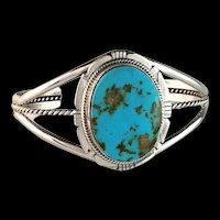 Navajo Sterling and Turquoise Mountain Bracelet