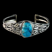 Sterling and Turquoise Bracelet by Navajo Artist Harold Tahe