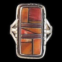 Native American Sterling and Spiny Oyster Inlay Ring
