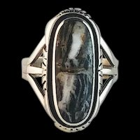 Navajo Sterling and White Buffalo Ring by Arnold Maloney