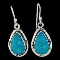 Navajo Sterling and Sleeping Beauty Turquoise Earrings