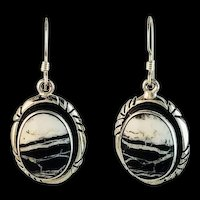 Sterling and White Buffalo Earrings by Navajo Terri Wood