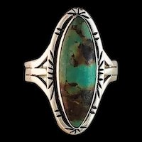 Sterling and Royston Turquoise Ring by Navajo Artist Melissa Yazzie