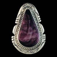Sterling and Purple Spiny Oyster Ring by Navajo Artist Anthony Kee