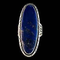 Extra Long Sterling and Lapis Lazuli Ring