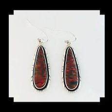 Sterling and Red Opalite Earrings by Navajo Arnold Maloney