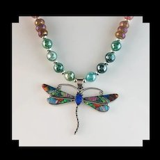 White Fox Creation; Navajo Opalite Dragonfly Pendant on Opalized Agate Chain
