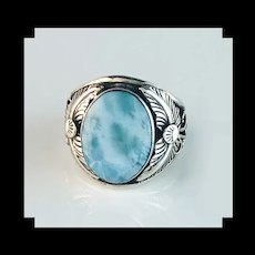 Navajo Sterling and Larimar Men's Ring
