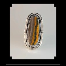 Long Sterling and Bumblebee Jasper Ring by Navajo Anthony Kee